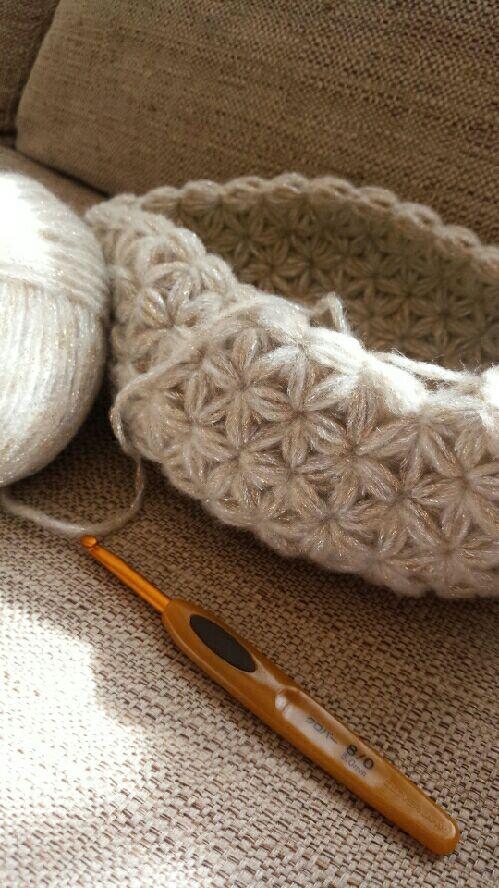 星?お花?この編み方可愛い!リフ編みって言うらしい