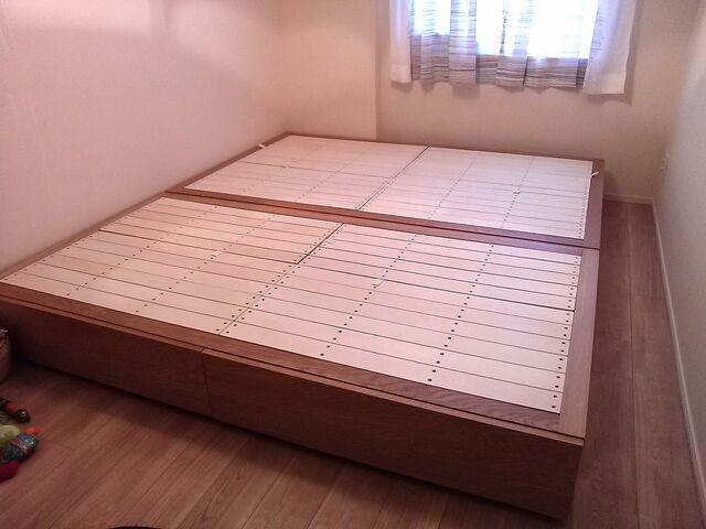 無垢材ベッド・ダブル・オーク材 幅148×奥行202×高さ