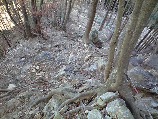 ロープを使って岩場を登る