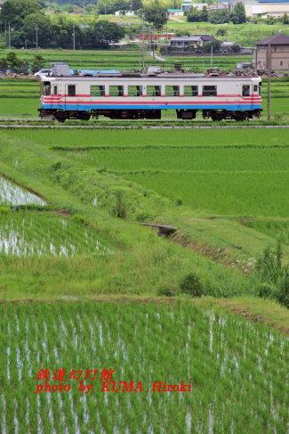 田園地帯を走る三木鉄道カラーのフラワ2000
