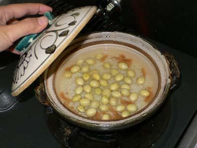 ぎんなんと貝柱の土鍋ご飯