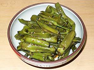 空芯菜の茎のきんぴら