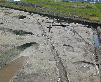 遺跡・・・溝の跡のようなものがありました