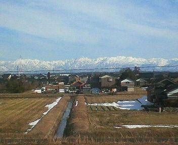 冬の立山連峰を望む