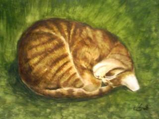 ねむり猫(水彩画)