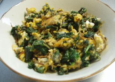 大根葉と雑魚炒め卵とじ
