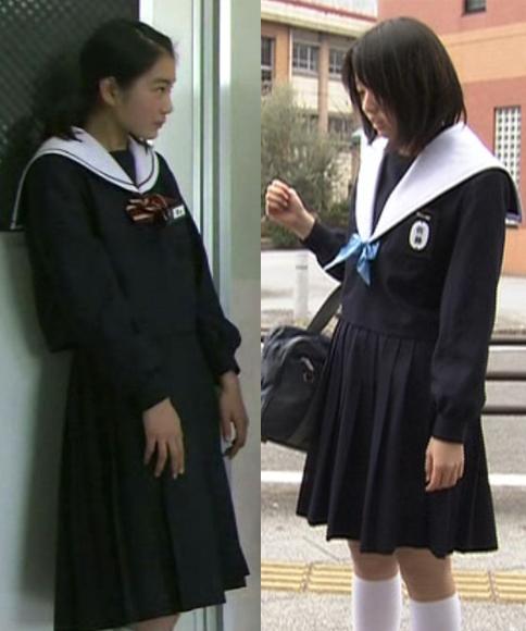 中学生日記新旧名古屋襟セーラー服比較全身女子中学生