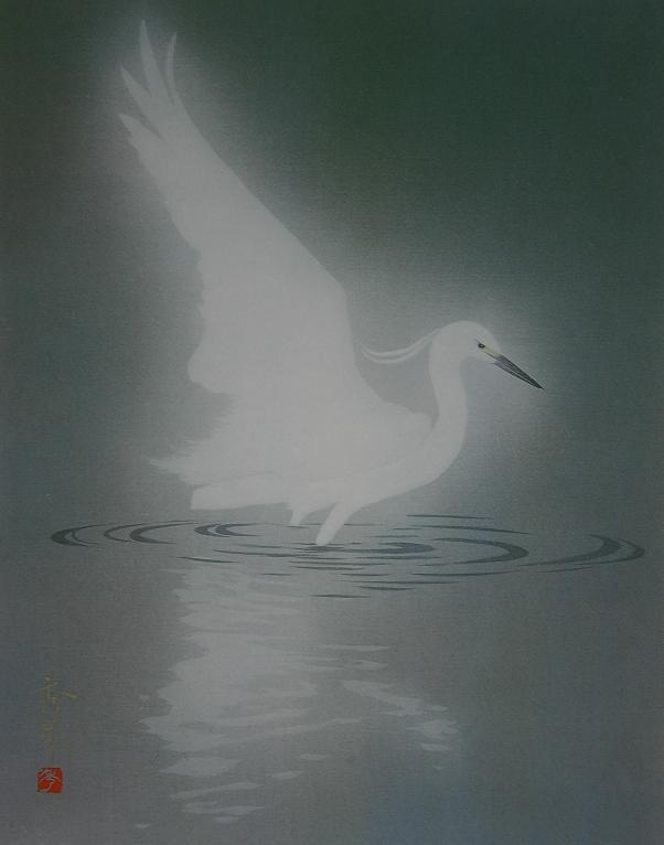 対比 白鷺VS白鷺   日本画家・絵...