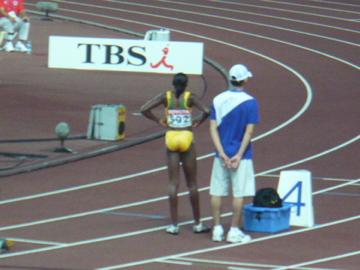 世界陸上・女子400m準決勝スタート前