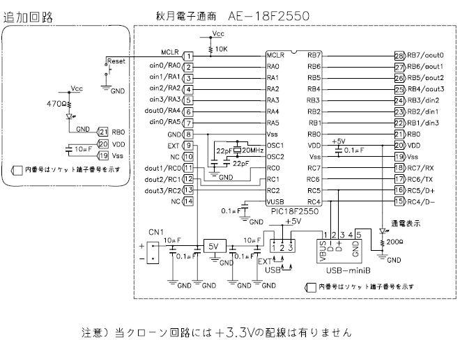 GAINER-miniクローン配線図(秋月完成基板)