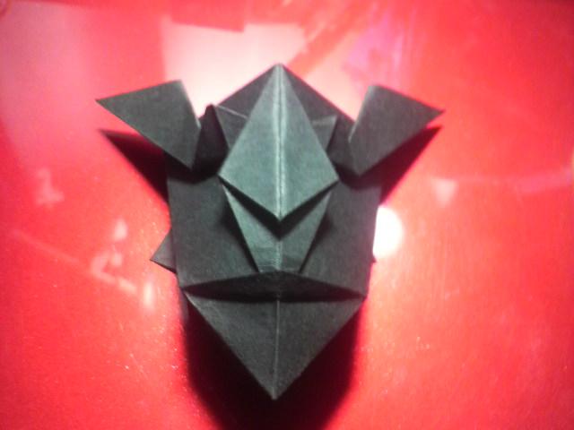 すべての折り紙 折り紙難しい龍 : 赤鬼の仮面を捧げて…