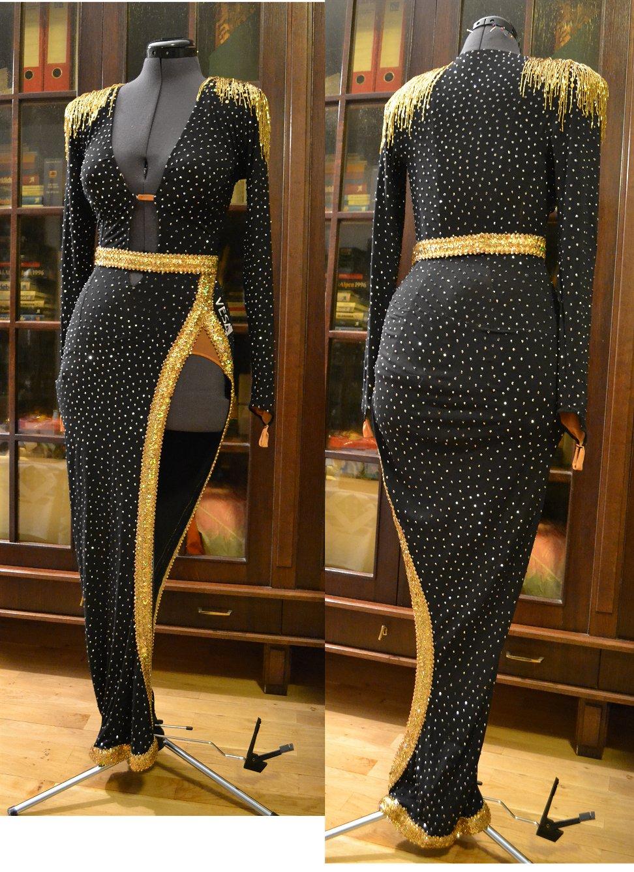 黒&ゴールドのロングのラテンドレス(VESA)