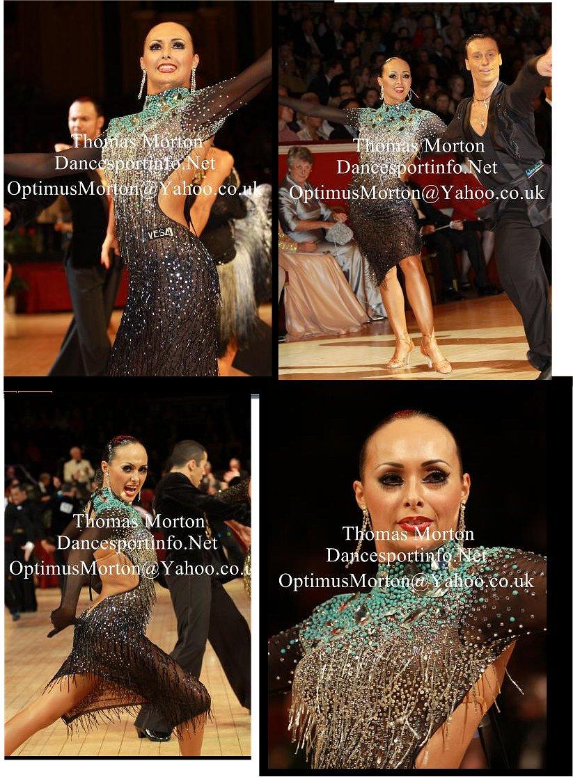 石と竹ビーズフリンジびっしりの超豪華なVESAのラテンドレス(値下げ)