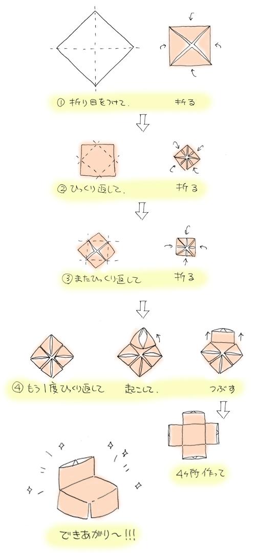 すべての折り紙 折り紙 可愛い箱 : さらにもう一つ!イスの折り方 ...