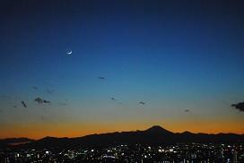 富士山、夜景