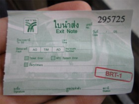 BRTの乗車チケット