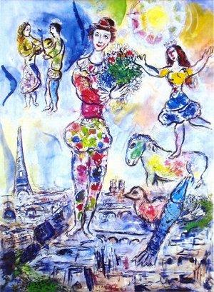 シャガール『パリの屋根の上』