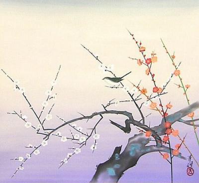 篠崎青峰『梅鶯図』