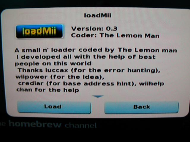 loadMii起動確認画面
