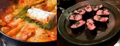 韓国唐辛子を利かせた特製ちゃんこ鍋と寿司アンルーレット