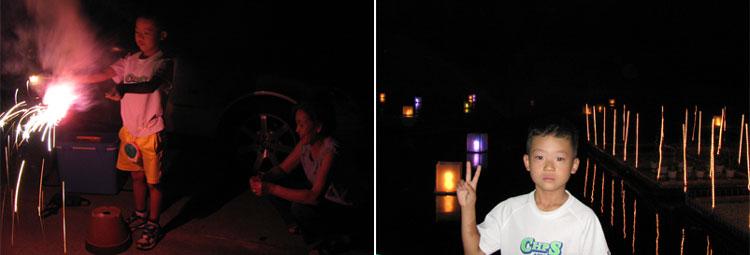 実家で花火  木曽三川公園の夕涼み  20070826
