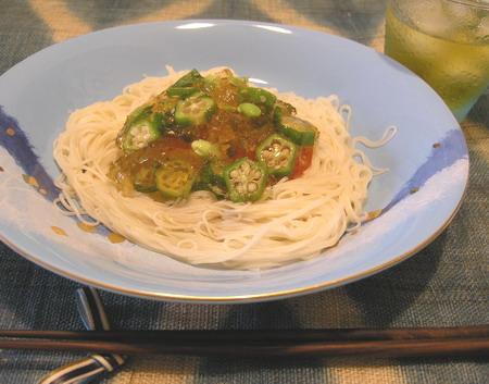 夏野菜ジュレのせ素麺2