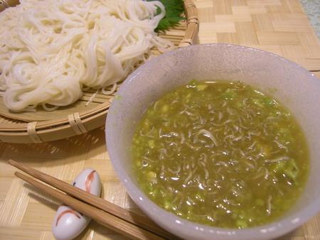 アボカドとじゃこのつけつゆ素麺