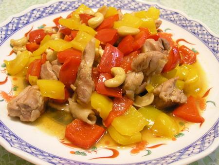 鶏とパプリカのカシューナッツ炒め