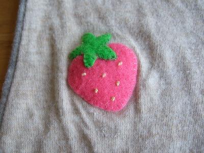 イチゴのアップリケ