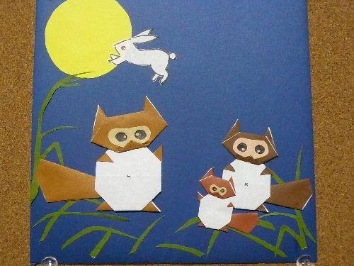 十五夜 タグの一覧へ 親子でしょうか?楽しそうに腹鼓うかれてお月さまから飛び出しちゃったウサギ.