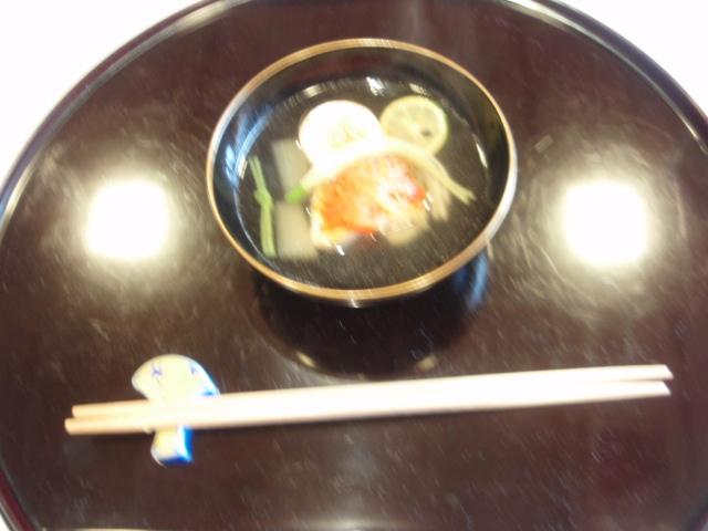 2【煮物椀】:鯛人参ー独活 人参 三つ葉彩り素麺 焼き豆腐 酢橘