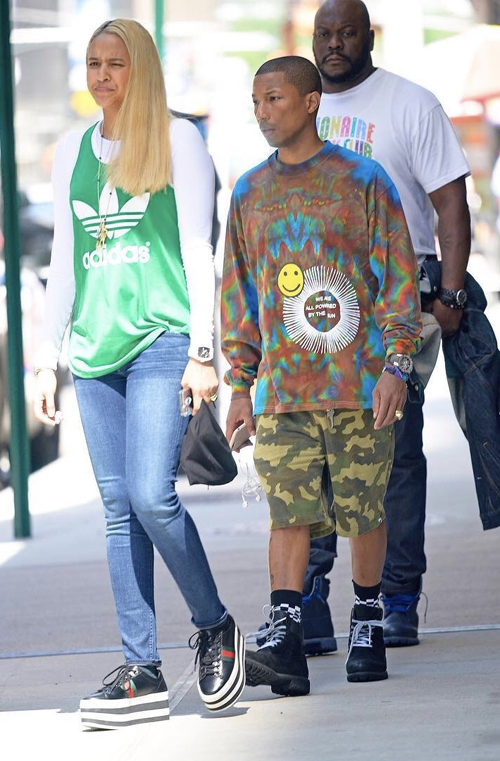 Pharrell-with-Helen-Lasichanh-Cactus-Plant-Flea-Market-tee-Bape-shorts-Timberland-boots.jpg