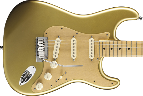 Fender USA FSR American Deluxe Stratocaster Aztec Gold/Maple w/Gold Anodized Pickguard_UP