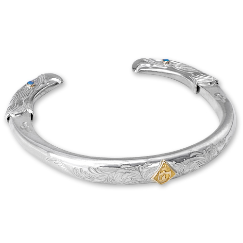 WSB2S eagle face bangle opal K18 cup 2mm L arabesque design M K18 eagle metal_03.jpg