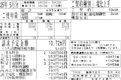 2013年5月分の電気料金明細