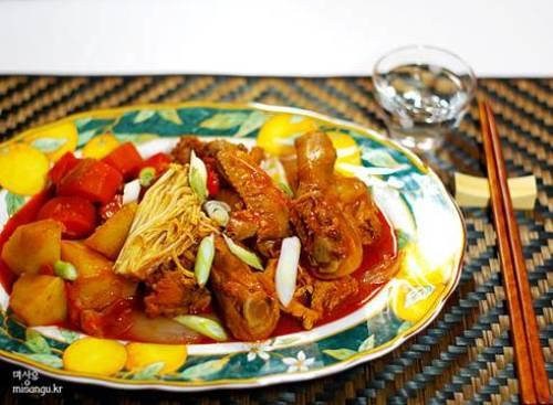 韓国料理 レシピ タッチェソポックン(鶏肉の野菜炒め)