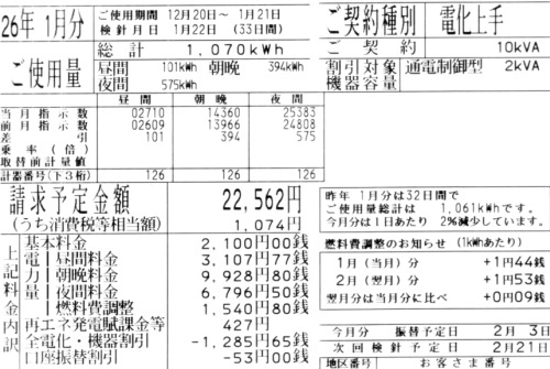 2014年1月分の電気料金明細