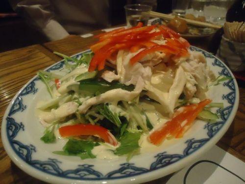 稲毛屋12(鶏サラダ).JPG