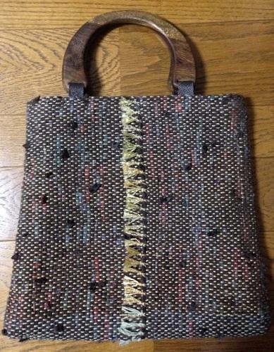 裂き織りの手提げバッグ