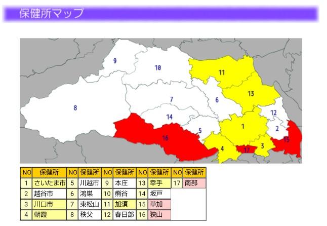 2020-06インフルエンザ流行マップ(埼玉県)