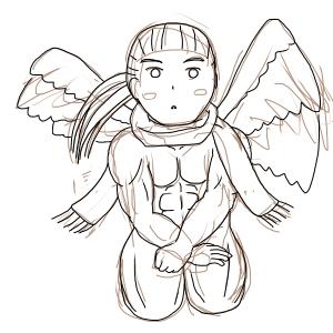裸マフラー正座(天使