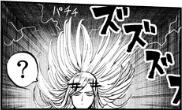 静電気で逆立つフラッシュの髪