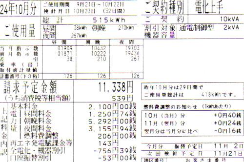2012年10月分の電気料金明細