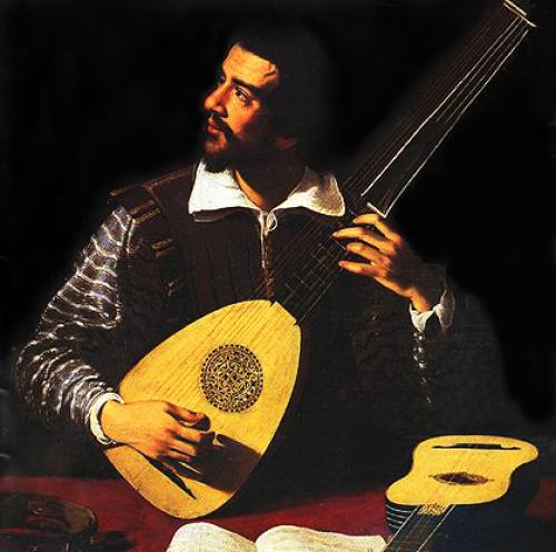 Johannes Hieronymus Kapsberger tocando la tiorba..jpg