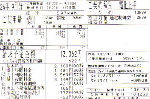 2012年9月分の電気料金明細と太陽光発電量