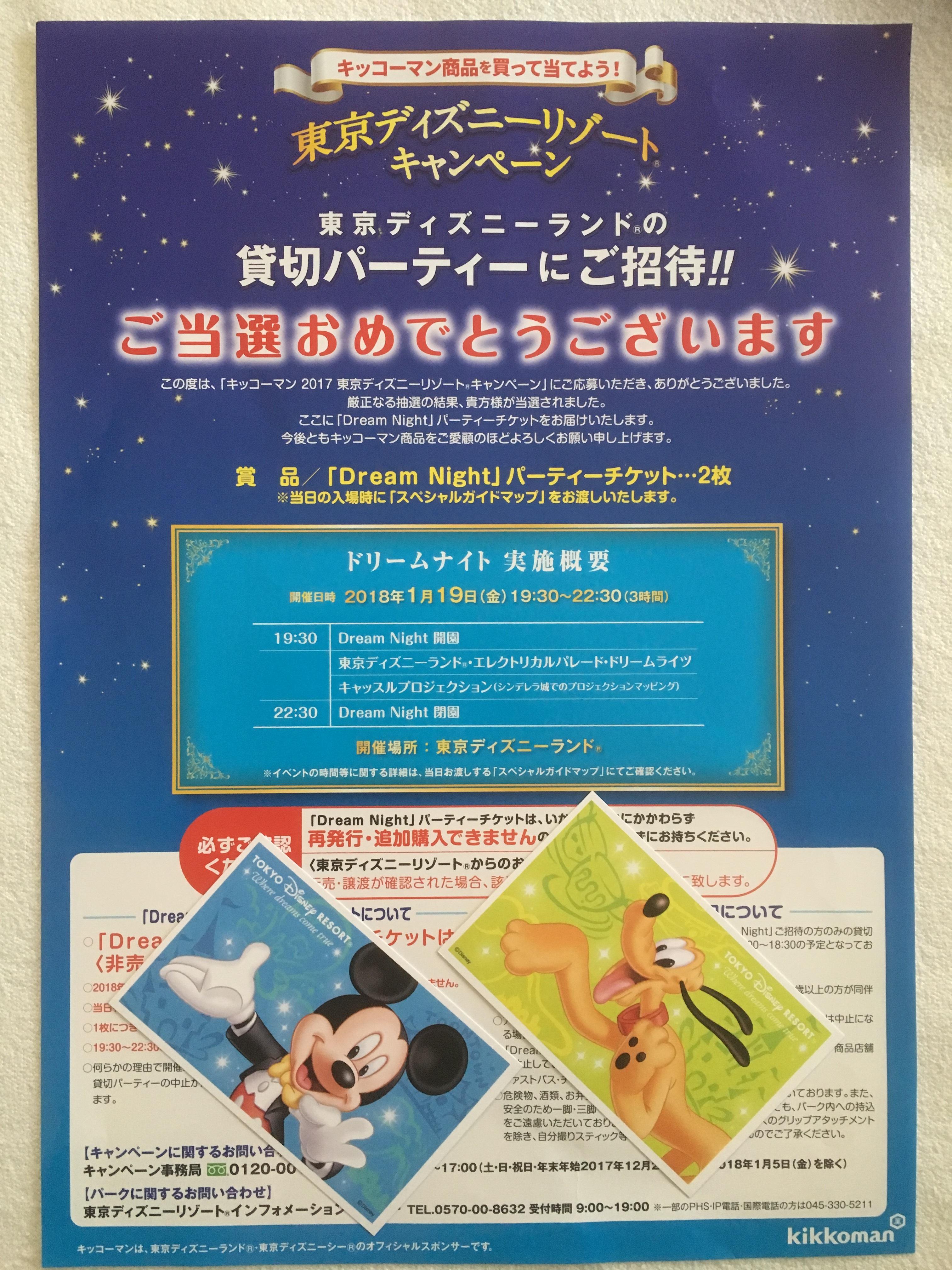 東京ディズニーランド貸切パーティードリームナイトチケットペア当選