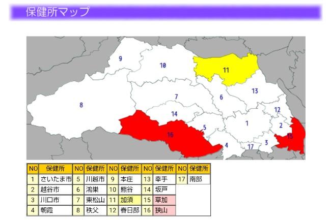 2020-07インフルエンザ流行マップ(埼玉県)