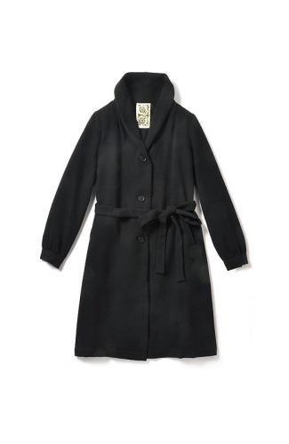 リス クロース 圧縮ウールのフェイクファー付きブラックコート..jpg