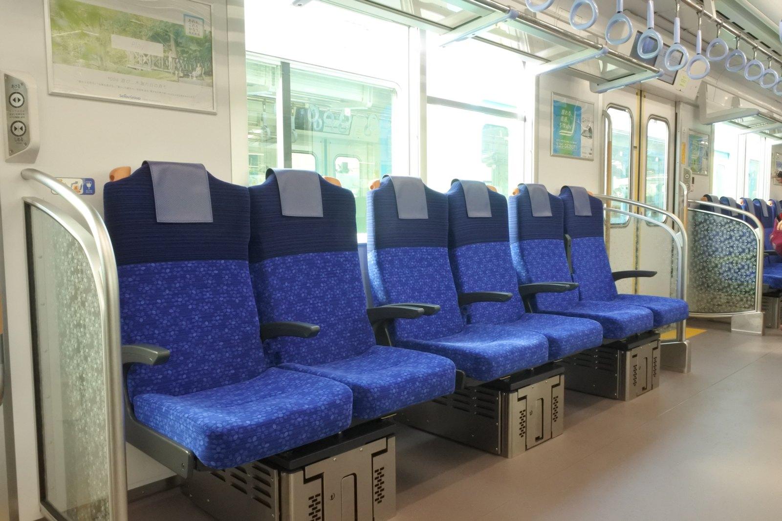 Interior of Seibu 40000 Series in longitudinal configuration