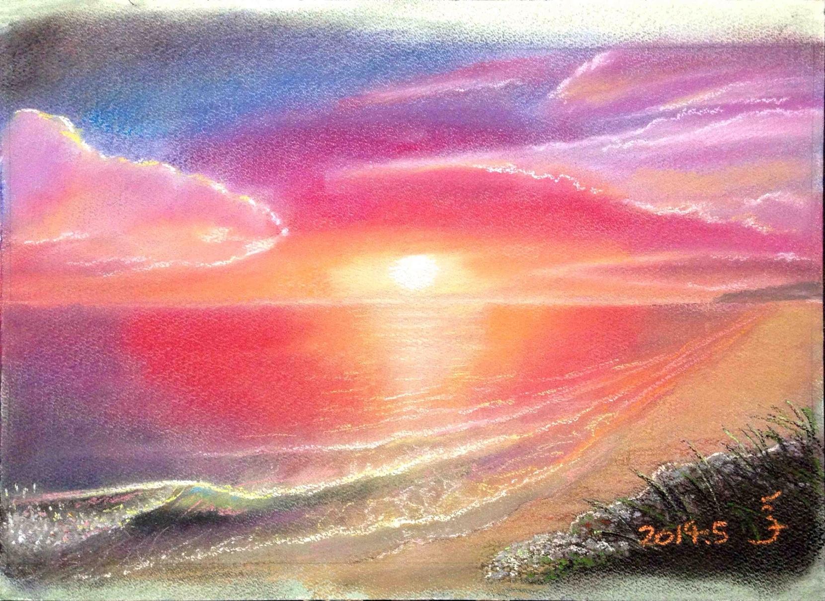 夕陽と海 012」パステル画の描き...